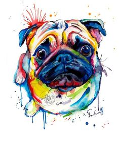 Colorful Pug Art Print - Print of my Original Watercolor Painting by WeekdayBest on Etsy https://www.etsy.com/listing/256205169/colorful-pug-art-print-print-of-my