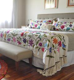 Pie de cama Flor Nueva 80x200. Mantas Tienda de Costumbres, hecho a mano