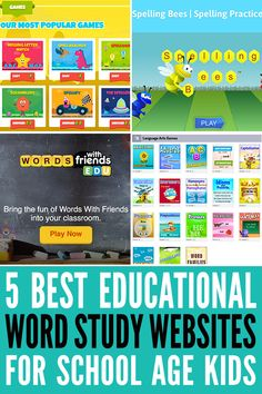 Practice vocabulary, phonics and spelling online with these online word study games for students of all ages. 5 great literacy learning websites for kids. Online English Games, Word Games Online, Phonics Games Online, Spelling Online, Online Games For Kids, Reading Games Online, Abc Games, Study Websites, Learning Websites For Kids