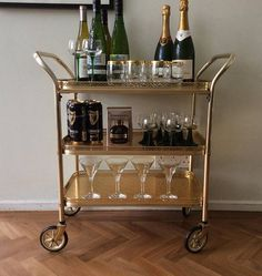 Vintage bar cart rolling drinks trolley mid century modern tea trolley hostess home bar table cabinet brass with removable top tray 2000