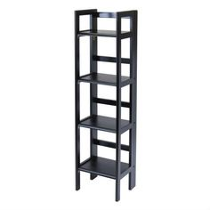 Add, subtract, and relocate your shelving to meet your changing needs with this Black 4-Tier Shelf Folding Shelving Unit Bookcase Storage Shelves Tower. Run out of cabinet space for kitchen appliances