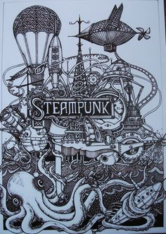 Items similar to An Inky Fingers print of one of my ink drawings - Steampunk . Steampunk Kunst, Steampunk Airship, Steampunk Design, Dieselpunk, Steampunk Fashion, Steampunk Drawing, Steampunk Octopus, Steampunk Illustration, Illustration Art