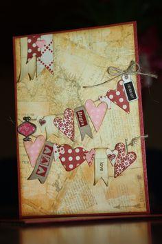 Hochzeitskarte mit Herzen auf der Leine