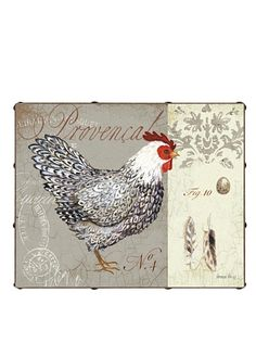 "Kathryn White Chicken Provencal No. 4 16"" x 20"" Hand Embellished Canvas at MYHABIT"