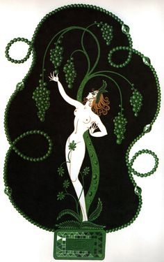 EMERALD Chic Original Vintage ERTE Art Deco Print Fashion Book Plate