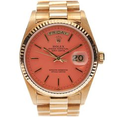 "ROLEX All-Original Pink ""Stella"" Dial Yellow Gold Day-Date"