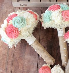 Ivory Mint Coral Rustic Wedding Bouquet,