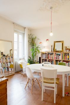 a bright happy dining room in France