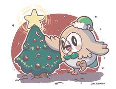 nora-illustration: Rowlet's Christmas Tree  LOVE Pokemon? Visit us: www.PokeMansion.Com