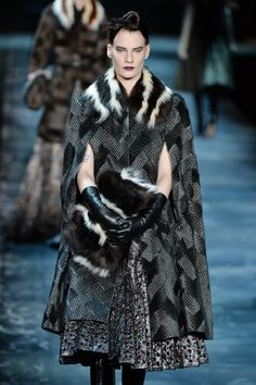 This season's favourite trim, fur, makes an appearance on accessories and sleeves at the @MarcJacobsIntl #NYFW #MBFW #AW15 show