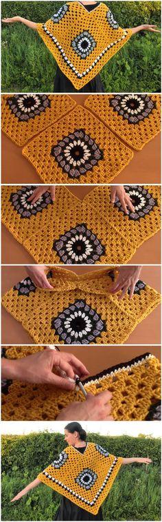 Squares to a Poncho - Design Peak Crochet Shawl, Crochet Stitches, Free Crochet, Knit Crochet, Crochet Crafts, Crochet Projects, Poncho Design, Knitting Patterns, Crochet Patterns