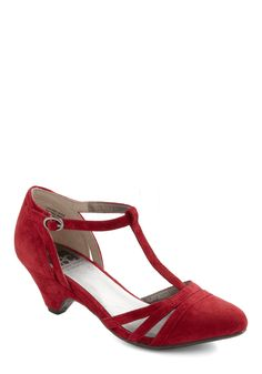 Just Prance Heel in Cherry by BC Shoes - Red, Solid, Cutout, Party, Vintage Inspired, 20s, 30s, Fall, Cocktail, Holiday Party, Leather, Suede, Mid