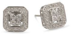 DiAura Sterling Silver Square Shape Diamond-Accent Stud Earrings