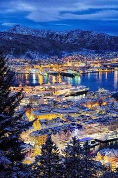 Night Lights of Bergen, Norway