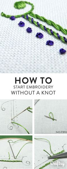 Here are some quick ways to begin embroidery threads securely, without leaving knots on the back of your work. #ad