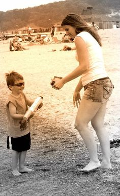 Photoshoot of mother and son at the beach edited in Picasa