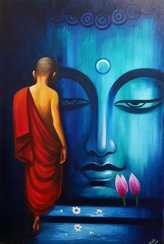 Walk towards spirituality- Acrylic on canvas Small Canvas Paintings, Indian Art Paintings, Acrylic Painting Canvas, Budha Painting, Minion Painting, Buddha Artwork, Buddha Canvas, Art Painting Gallery, Art Drawings Beautiful