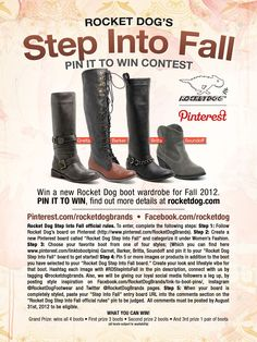 Rocket Dog STEP INTO FALL Contest-  Official Rules #RDStepIntoFall    Choose your boot to style: http://pinterest.com/rocketdogbrands/meet-the-boots      When you're finished, paste your board url in the comments section below.