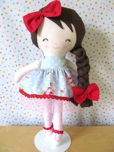 15 inch Handmade Soft Cloth Rag Doll by littleidacrafts on Etsy, £30.00