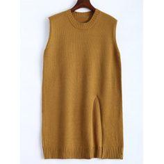 Plus Size Slit Sleeveless Sweater