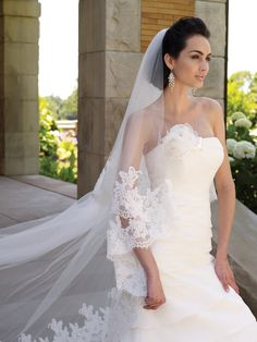 Veil11104    Two-tiered scalloped lace and tulle fingertip and cathedral-length veil.