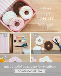 DIY Play Food for Kids: How to Make Felt Donuts - Lia GriffithYou can find Play food and more on our website.DIY Play Food for Kids: How to Make Felt Donuts - Lia Griffith Felt Diy, Felt Crafts, Diy For Kids, Crafts For Kids, Comida Diy, Felt Food Patterns, Sewing Projects, Craft Projects, Felt Cupcakes