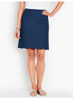 ef2b14f5aaff1 Scalloped-Hem Canvas Skirt Scalloped Hem