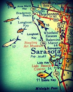 vintage map photograph Bogo Sale beach lover gift SARASOTA / SIESTA KEY Florida 8x10 orange aqua fish Bradenton Lido Key wall decor picture. $22.00, via Etsy.