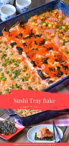 Baked Sushi Recipe, Sushi Rice Recipes, Asian Noodle Recipes, Asian Recipes, Ethnic Recipes, Japanese Dishes, Japanese Recipes, Japanese Food, Diy Food