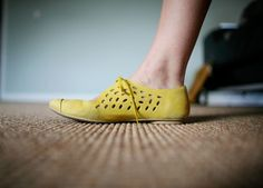 yellow leather camper shoe by jetkatphoto  On SALE now at The Children's Hour, SLC, UT (801 )359-4150