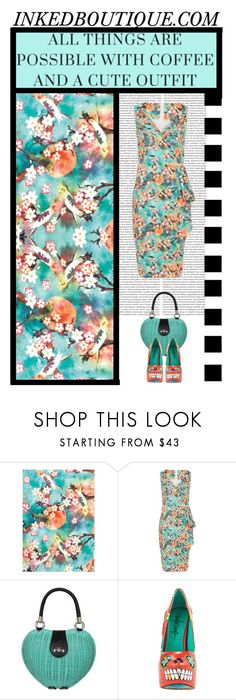 """Inked Boutique (17)"" by irresistible-livingdeadgirl ❤ liked on Polyvore featuring Voodoo Vixen, TaylorSays, cute, floral, floralprint, turquoise and pinup"