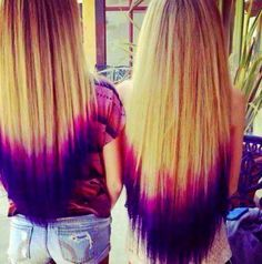 double dip dyed purple and pink hairstyles