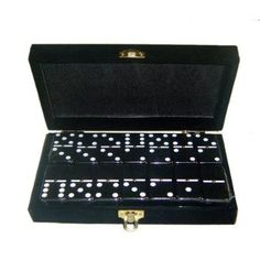 Domino Double 6 Black Jumbo Tournament Professional Size w/Spinners in Elegant Black Velvet Box.