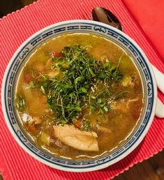 Sandra's Turkey Soup with Cilantro microgreens. In other words, comfort food topped with superfood, Turkey Soup, Tasty, Yummy Food, Organic Seeds, Detox Soup, Superfood, Cilantro, Bon Appetit, Catering