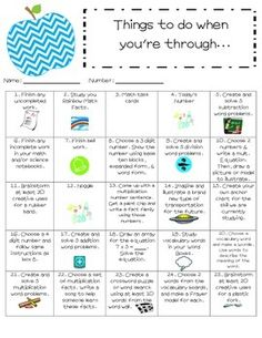 Do you have trouble keeping your early finishers busy? This choice board will help you do just that. The choice board includes activities such as: . Classroom Procedures, Classroom Organisation, Classroom Management, Classroom Ideas, Art Classroom, 4th Grade Classroom, History Classroom, 3rd Grade Math, Second Grade