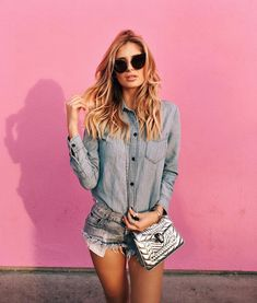xeniaoverdose. denim on denim in front of the pink paul smith wall in la