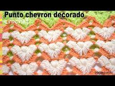Punto chevron decorado con abanicos, puffs y piquitos tejido a crochet - Tejiendo Perú - YouTube