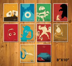 Pixar Art Print WALL-E, Monsters Inc. Toy Story, Brave, Finding Nemo, The Incredibles, Tangled, Up, Cars