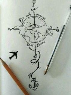 28 Ideas For Travel Drawing Compass Tattoo Designs Trendy Tattoos, New Tattoos, Body Art Tattoos, Cool Tattoos, Tatoos, Globe Tattoos, Symbol Tattoos, Tattoo Symbols, Kunst Tattoos