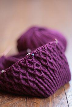 Perfect Purple Cable Shedir Hat Knit Pattern // Ravelry // Free