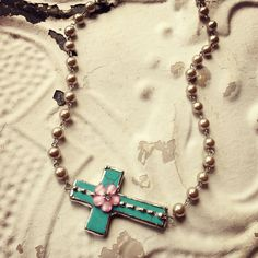 Turquoise soldered side ways cross Necklace on by kolejaxdesigns, $27.95