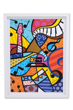 Quadro Decorativo Romero Britto Latin Grammy 50x65cm