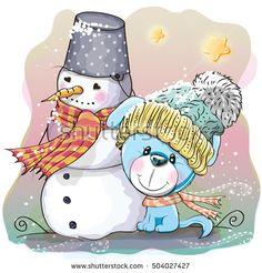Cute Cartoon Puppy in a knitted cap and snowman
