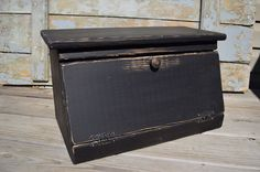 Primitive Bread Box/Charging Station Black by BishopsHollow