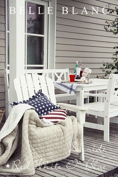 Red, White & Blue, chair, table, pillow, flag