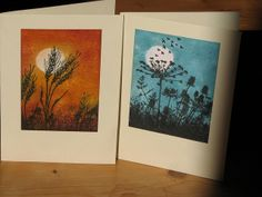 two handmade cards ... sponged skies with silhouette plants stamped on top ... wheat and meadowflowers ... sunrise and night ... lovely!!