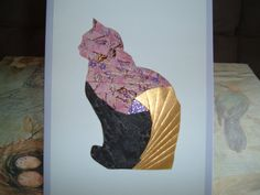 Iris Folding Cat done in pink w/purple/brown by DeesGreetingCards, $4.50