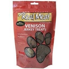 THE REAL MEAT COMPANY 828017 Dog Jerky Venison Treat 4Ounce *** You can find out more details at the link of the image.