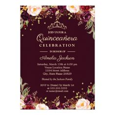 Gold Burgundy Elegant Floral Quinceanera Card - watercolor gifts style unique ideas diy