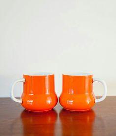 Vintage orange mugs